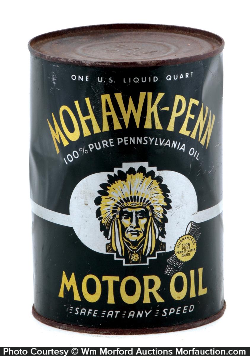 Antique Advertising Mohawk Penn Motor Oil Can Antique