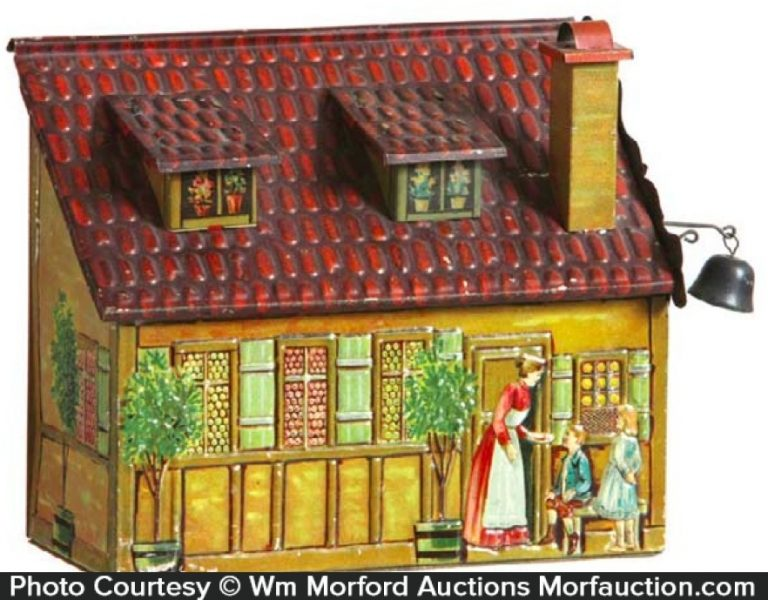 German Figural House Biscuit Tin