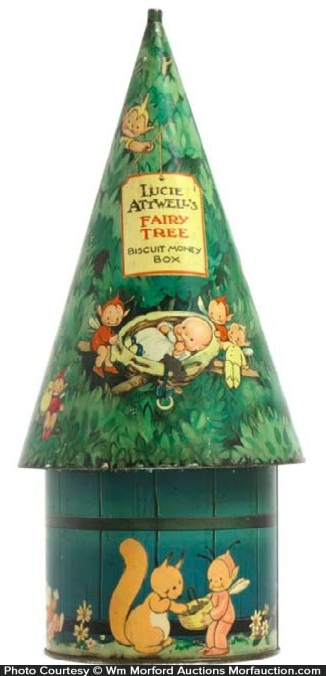 Fairy Tree Biscuit Money Box Tin Bank