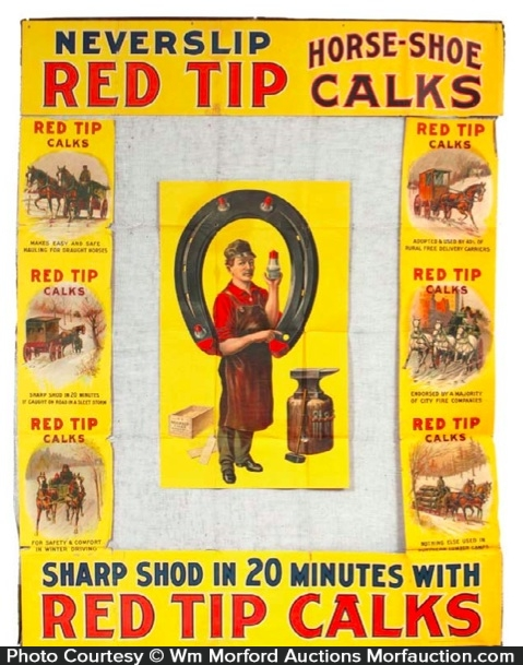 Red Top Horse Shoe Calks Display