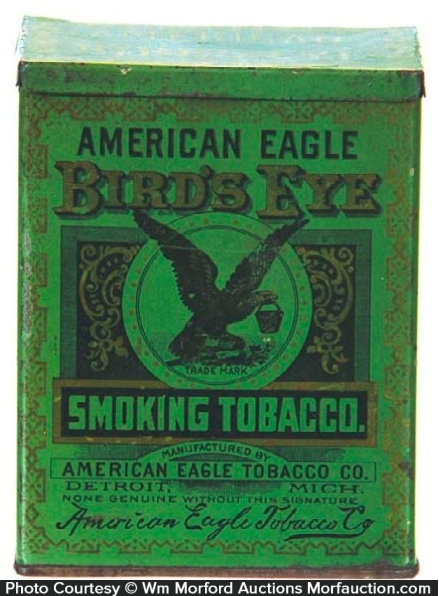 American Eagle Bird's Eye Tobacco Tin