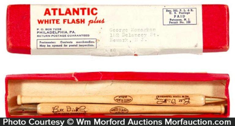Atlantic White Flash Oil Baseball Pen & Pencil Set