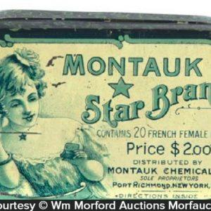 Montauk Star Brand Medicine Tin Antique Advertising