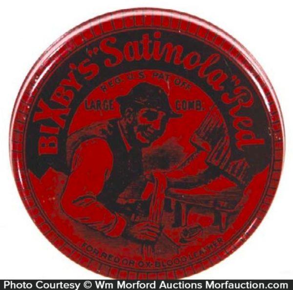 Bixby's Satinola Red Shoe Polish Tin