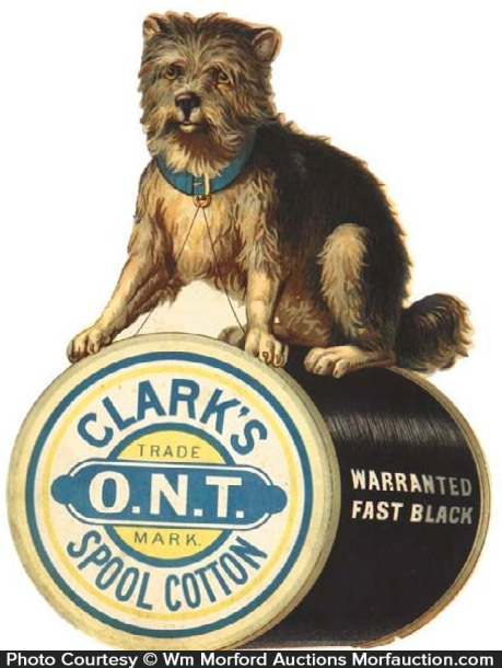 Clark's O.N.T. Spool Cotton Sign