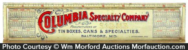 Columbia Specialty Tin Ruler