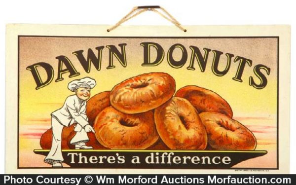Dawn Donuts Celluloid Sign