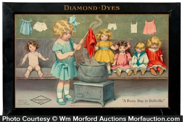 Diamond Dyes A Busy Day In Dollville Sign