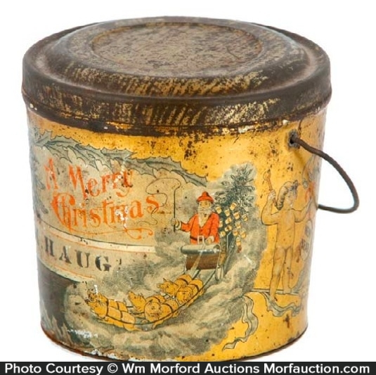 Antique advertising vintage christmas pail antique for Christmas tin pails