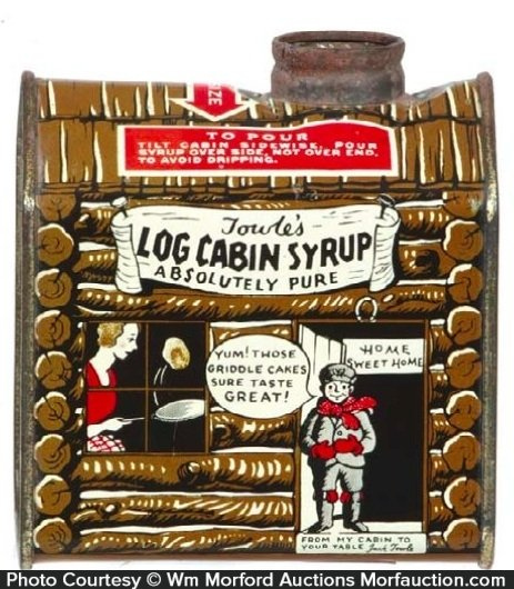 Antique advertising log cabin syrup tin