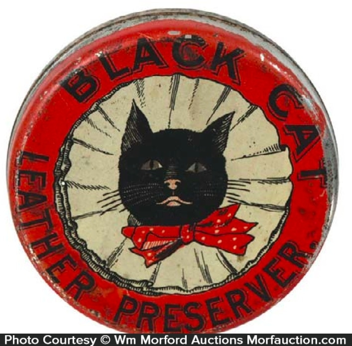 Black Cat Leather Preserver Tin