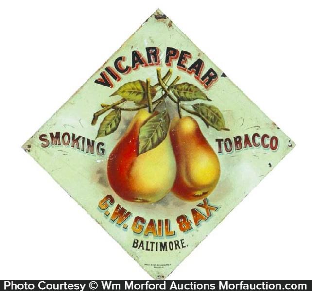 Vicar Pear Tobacco Sign