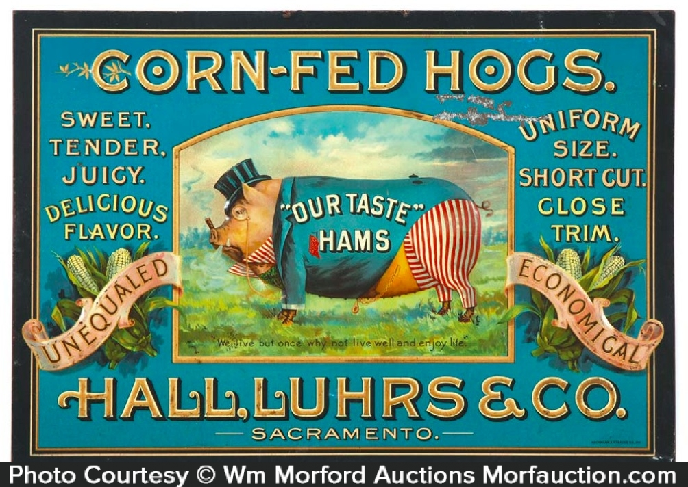 Hall Luhrs Corn Fed Hogs Sign