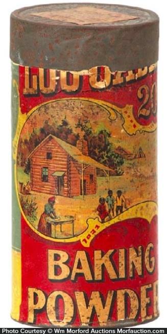 Log Cabin Baking Powder Tin