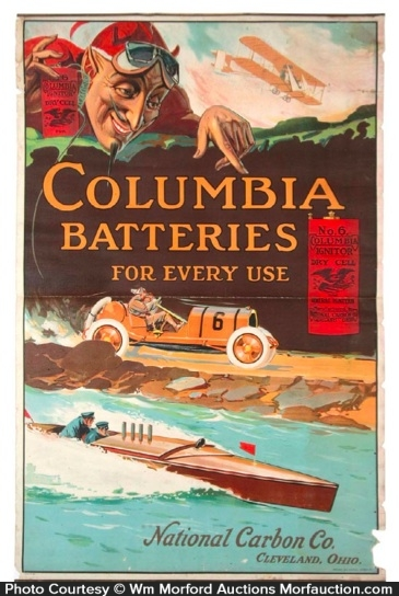 Antique Advertising | Columbia Battery Poster • Antique ...