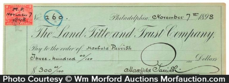 Maxfield Parrish Signed Check