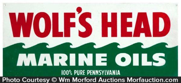 Wolf's Head Marine Oils Sign