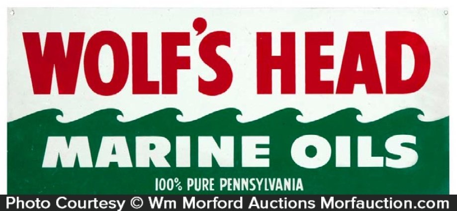 Wolf's Head Marine Oils Sign