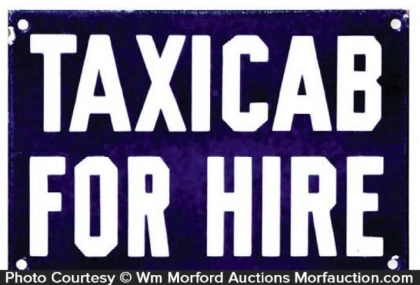 Taxicab For Hire Sign