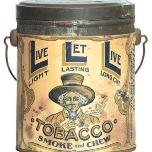 Live Let Live Tobacco Pail