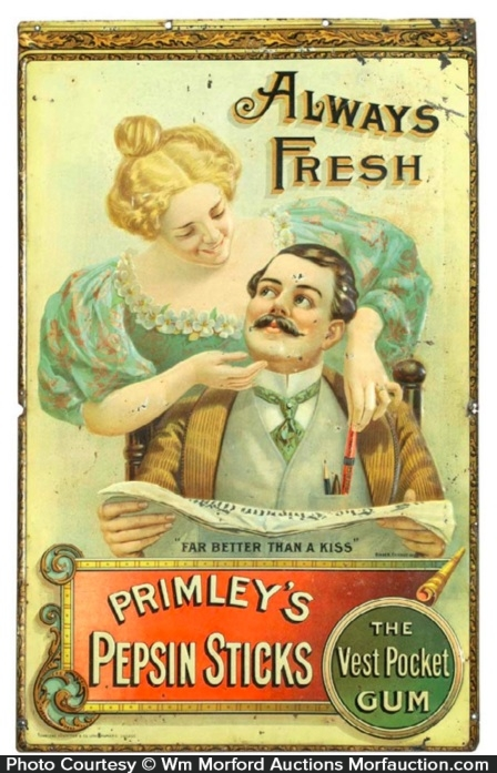 Primley's Pepsin Sticks Gum Sign