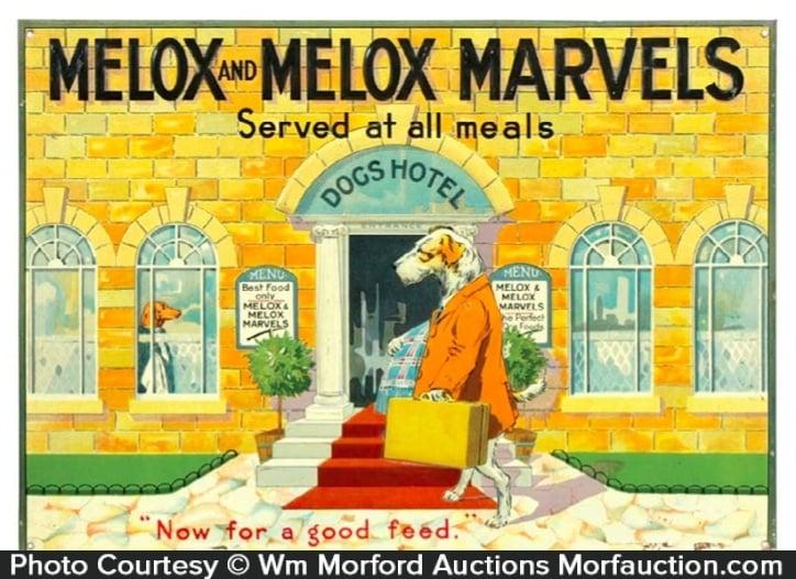 Melox Marvels Dog Food Sign