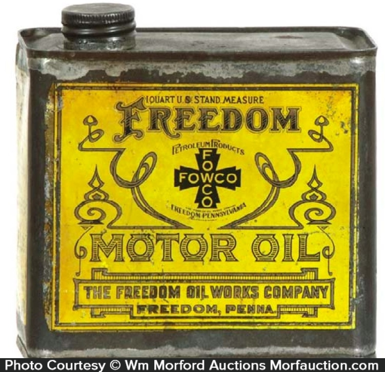 Antique Advertising Freedom Motor Oil Can Antique Advertising