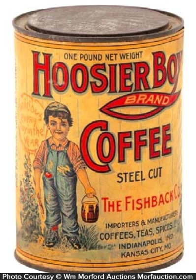 Hoosier Boy Coffee Tin Antique