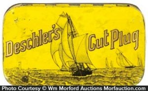 Deschler's Cut Plug Tobacco Tin