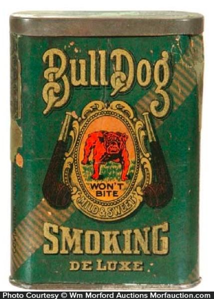 Cardboard Bulldog Tobacco Tin