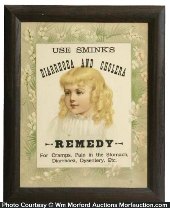 Sink's Diarrhea and Cholera Remedy Sign