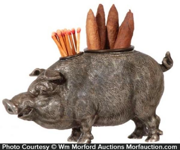 Hog Cigar and Match Holder