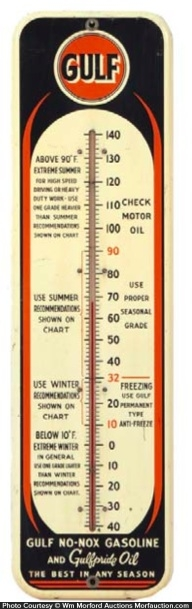 Gulf No-Nox Gasoline Thermometer