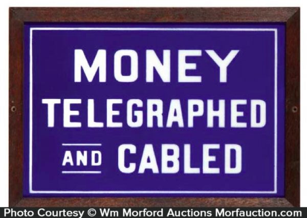 Money Telegraphed Glass Sign