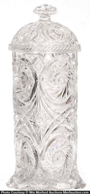 Pressed Glass Straw Holder