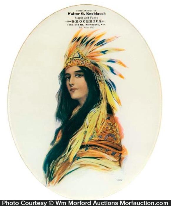 Indian Princess Glass Sign