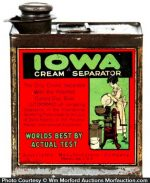 Iowa Cream Separator Oil Tin