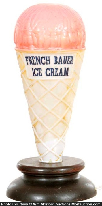 French Bauer Ice Cream Light-Up Display