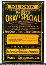 Pabst's Okay Special Sign
