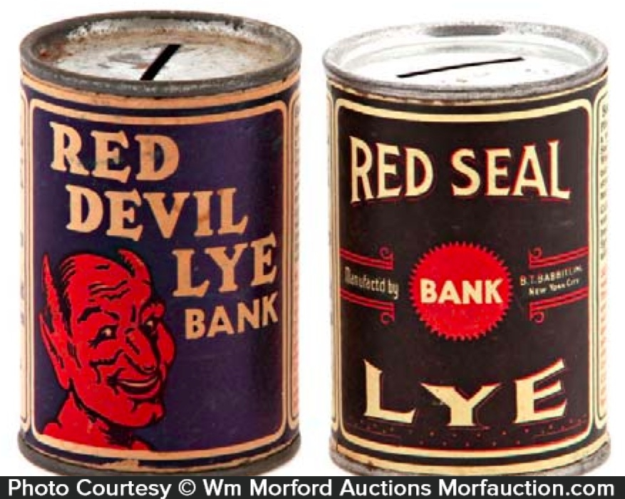 Vintage Lye Tin Banks