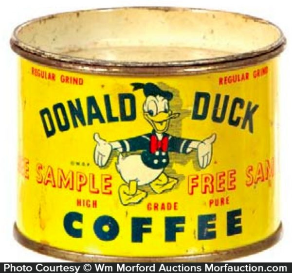 Donald Duck Coffee Sample Tin Bank