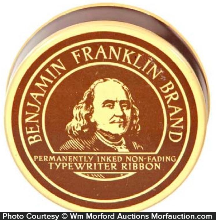 Benjamin Franklin Typewriter Tin