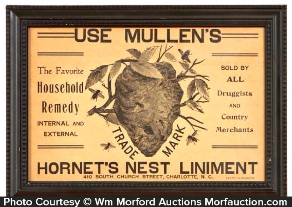 Mullen's Hornet's Nest Liniment Sign