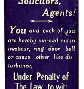 Peddlers Beware Sign