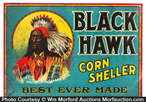 Black Hawk Corn Sheller Sign
