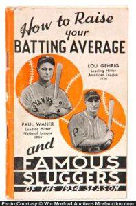 1934 Louisville Sluggers Bat Catalog