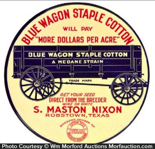 Blue Wagon Cotton Seeds Sign