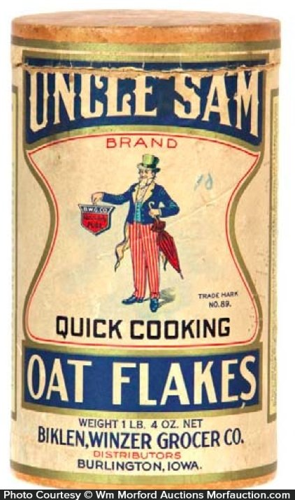 Uncle Sam Oat Flakes Box