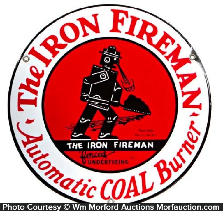 Iron Fireman Coal Sign