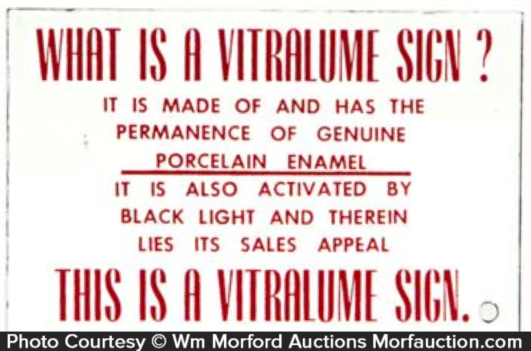 Vitralume Porcelain Sign